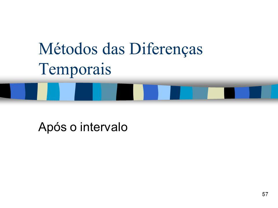 57 Métodos das Diferenças Temporais Após o intervalo