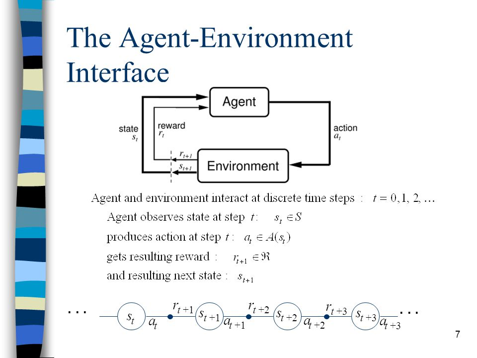 8 The Agent Learns a Policy n Reinforcement learning methods specify how the agent changes its policy as a result of experience.