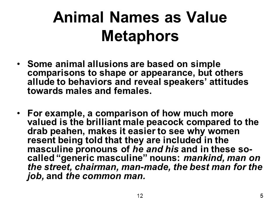 1266 Three Extreme Archetypes With animals that are not so common or intimate with humans, speakers do not have names marked for gender.