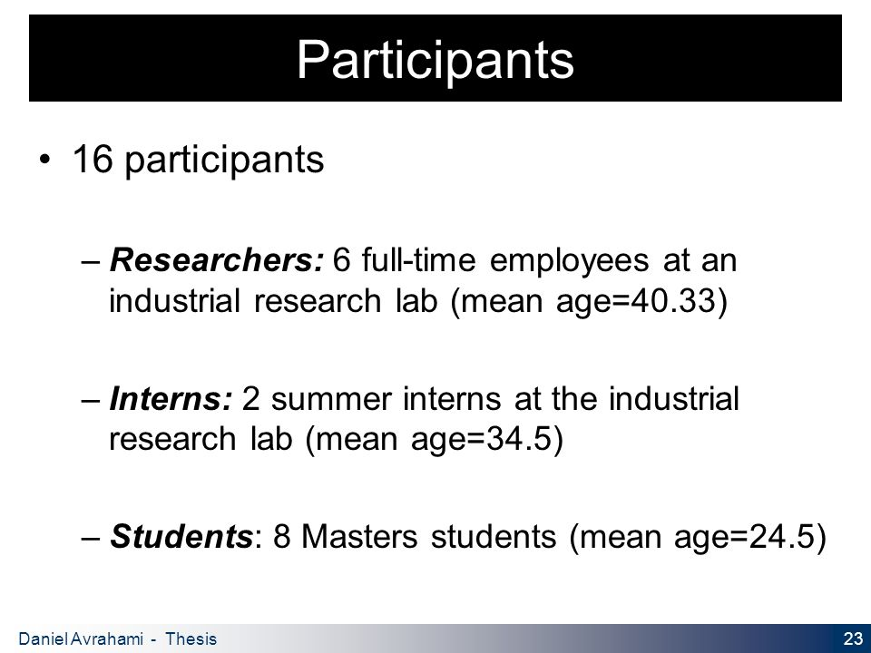 23 Daniel Avrahami - Thesis Proposal Participants 16 participants – Researchers: 6 full-time employees at an industrial research lab (mean age=40.33) – Interns: 2 summer interns at the industrial research lab (mean age=34.5) – Students: 8 Masters students (mean age=24.5)