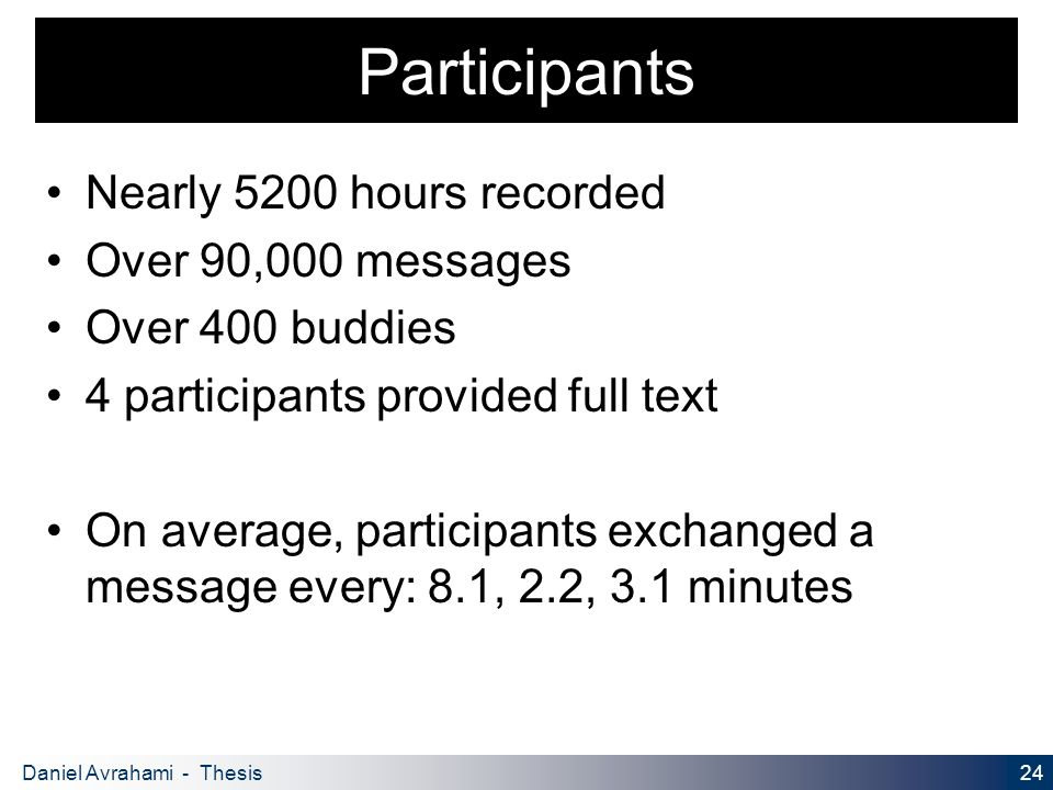 24 Daniel Avrahami - Thesis Proposal Participants Nearly 5200 hours recorded Over 90,000 messages Over 400 buddies 4 participants provided full text On average, participants exchanged a message every: 8.1, 2.2, 3.1 minutes