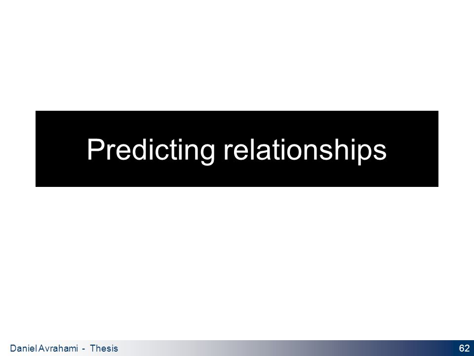 62 Daniel Avrahami - Thesis Proposal Predicting relationships