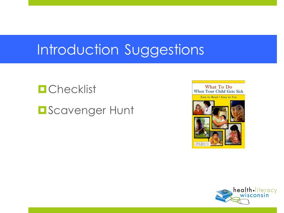 Introduction Suggestions  Checklist  Scavenger Hunt