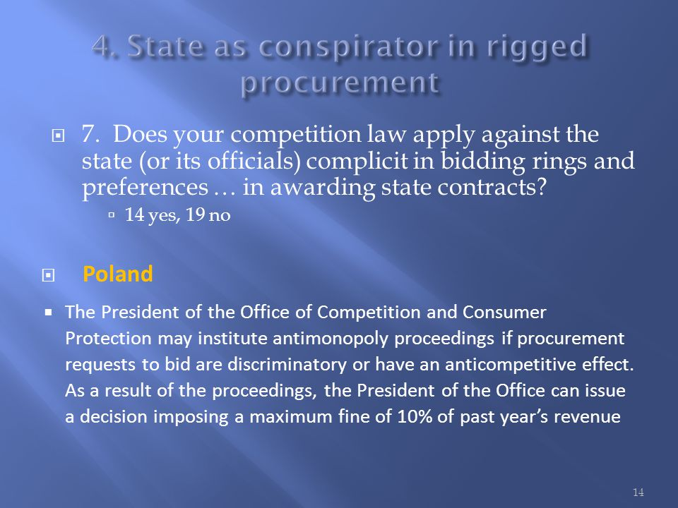  7. Does your competition law apply against the state (or its officials) complicit in bidding rings and preferences … in awarding state contracts? 