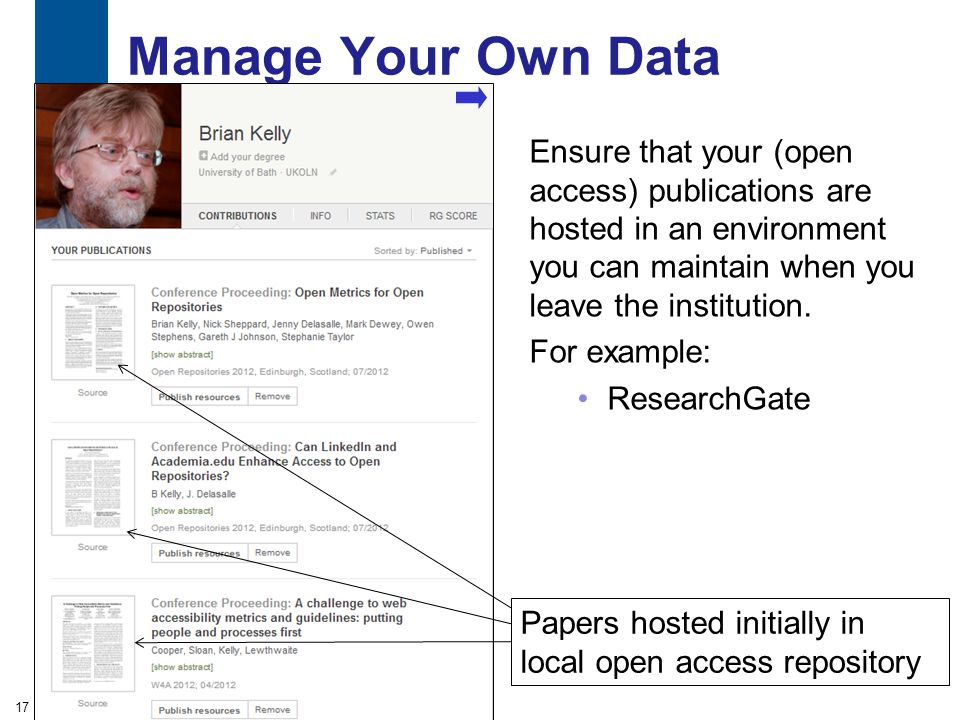 Manage Your Own Data Ensure that your (open access) publications are hosted in an environment you can maintain when you leave the institution.