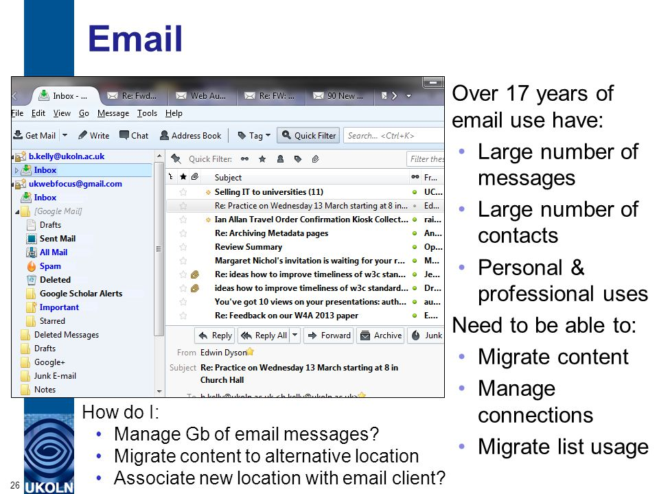 Email 26 How do I: Manage Gb of email messages.