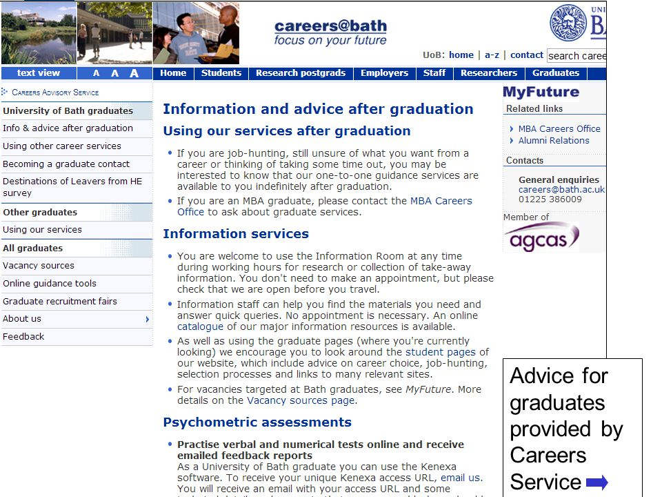 After Bath 31 Advice for graduates provided by Careers Service