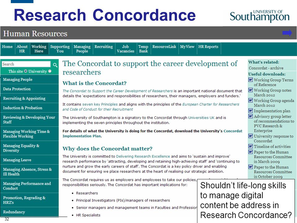 Research Concordance Shouldn't life-long skills to manage digital content be address in Research Concordance.