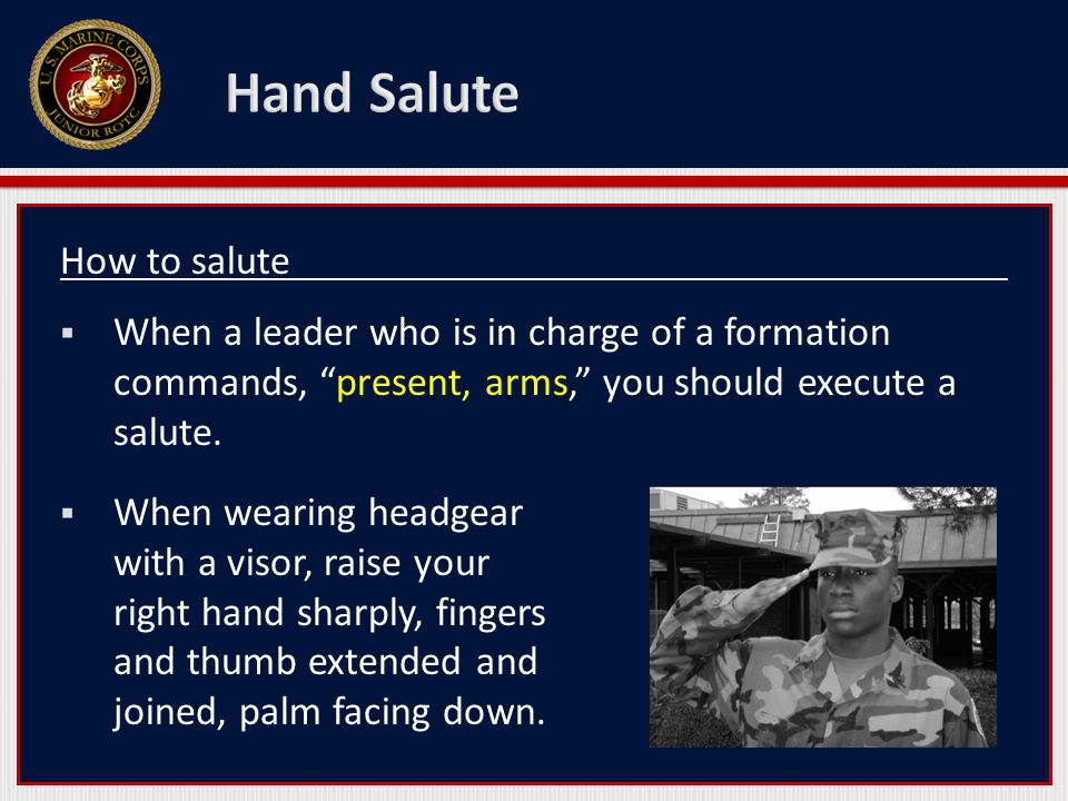 How to salute  When a leader who is in charge of a formation commands, present, arms, you should execute a salute.