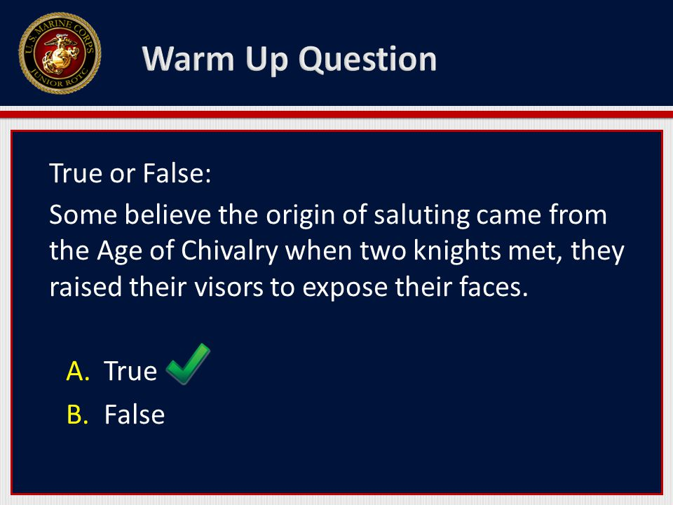 True or False: Some believe the origin of saluting came from the Age of Chivalry when two knights met, they raised their visors to expose their faces.