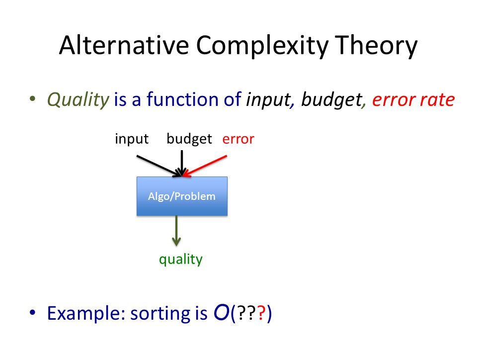 Alternative Complexity Theory Quality is a function of input, budget, error rate Example: sorting is O ( ) Algo/Problem quality inputbudget error