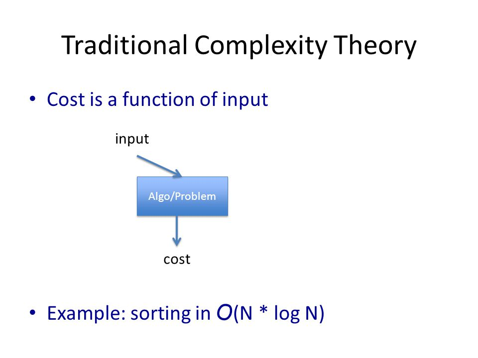 Traditional Complexity Theory Cost is a function of input Example: sorting in O (N * log N) Algo/Problem cost input
