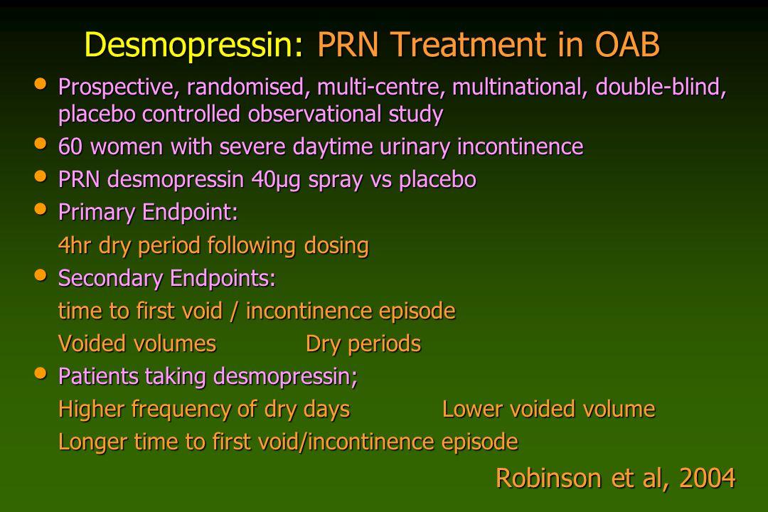 Desmopressin: PRN Treatment in OAB Prospective, randomised, multi-centre, multinational, double-blind, placebo controlled observational study Prospect
