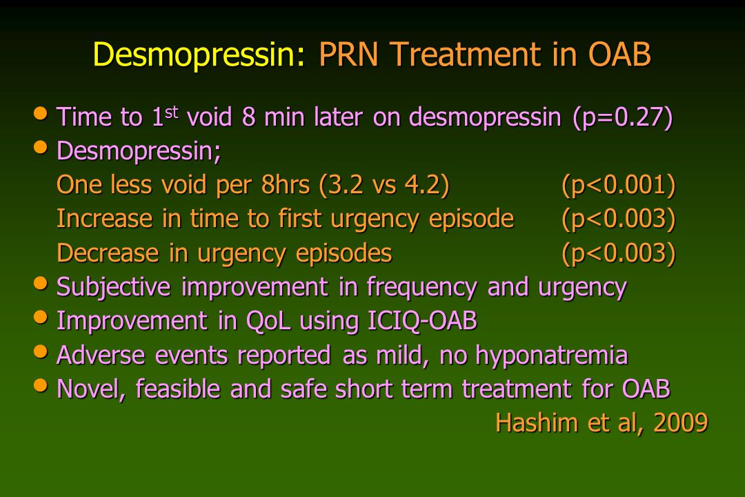 Desmopressin: PRN Treatment in OAB Time to 1 st void 8 min later on desmopressin (p=0.27) Time to 1 st void 8 min later on desmopressin (p=0.27) Desmo