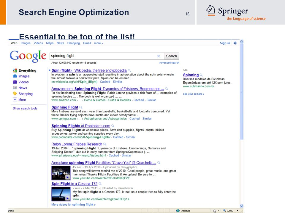 18 Search Engine Optimization Essential to be top of the list! !
