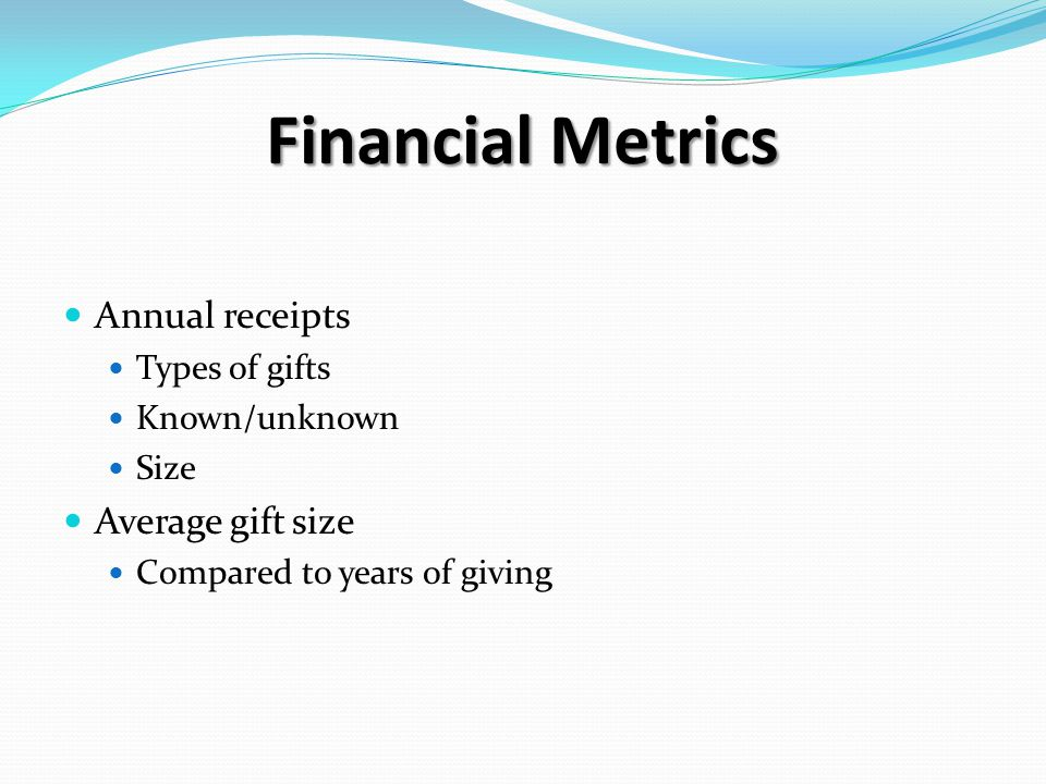 Financial Metrics Annual receipts Types of gifts Known/unknown Size Average gift size Compared to years of giving