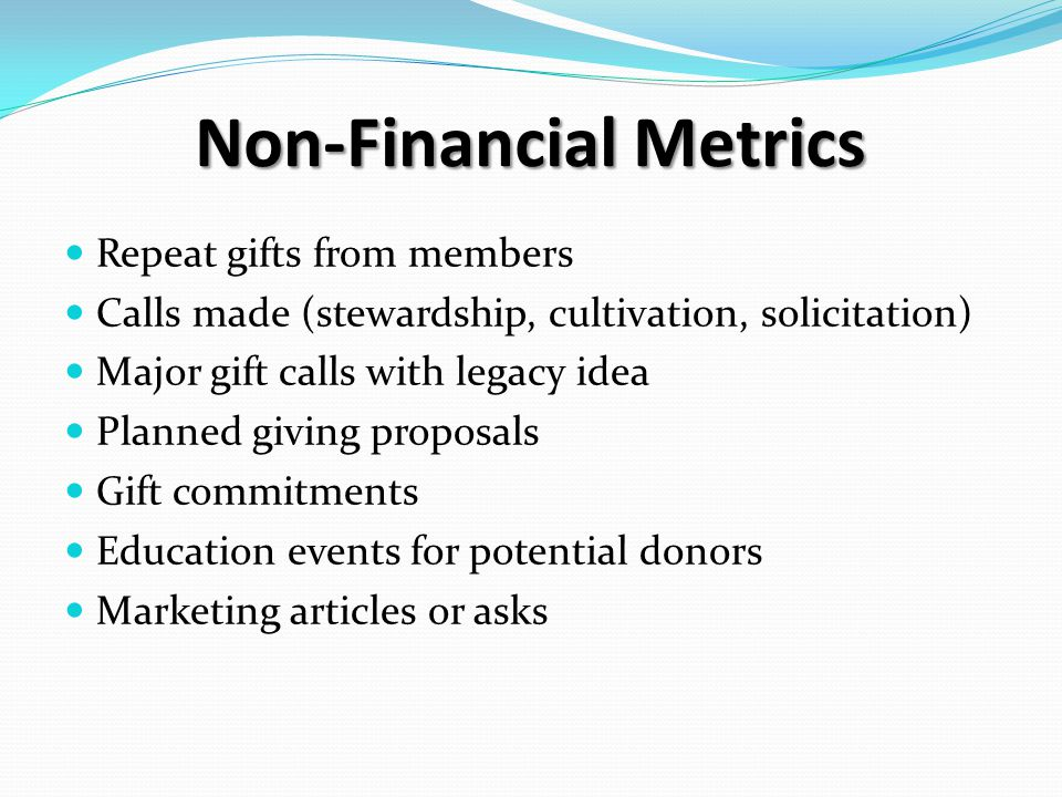 Non-Financial Metrics Repeat gifts from members Calls made (stewardship, cultivation, solicitation) Major gift calls with legacy idea Planned giving proposals Gift commitments Education events for potential donors Marketing articles or asks