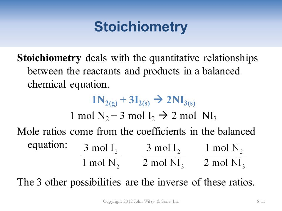 Stoichiometry Stoichiometry deals with the quantitative relationships between the reactants and products in a balanced chemical equation.