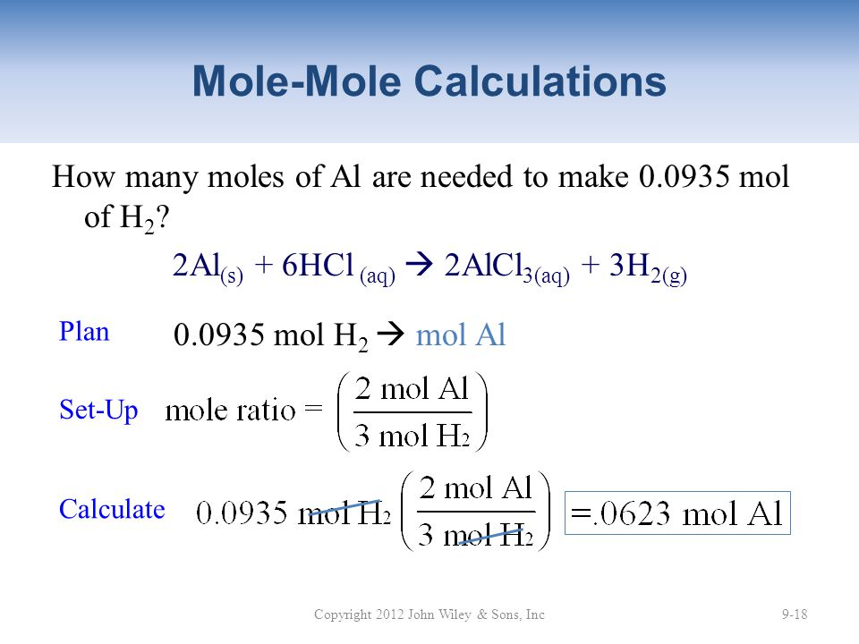 Mole-Mole Calculations How many moles of Al are needed to make 0.0935 mol of H 2 .