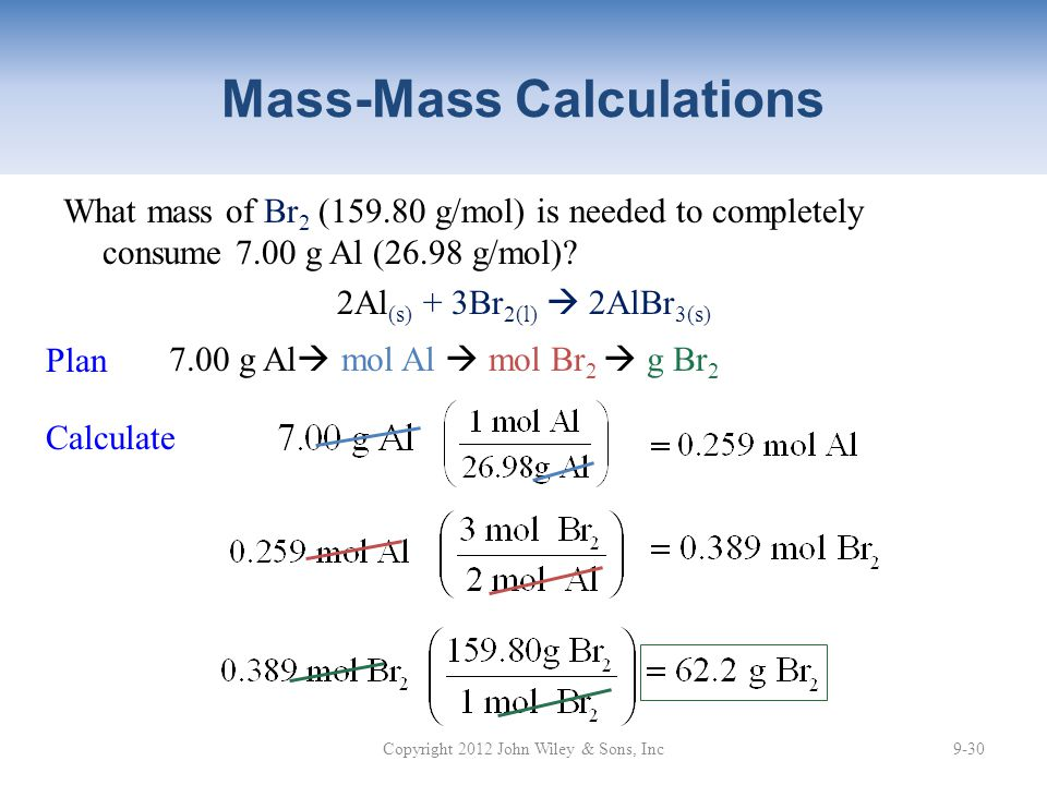 Mass-Mass Calculations What mass of Br 2 (159.80 g/mol) is needed to completely consume 7.00 g Al (26.98 g/mol).