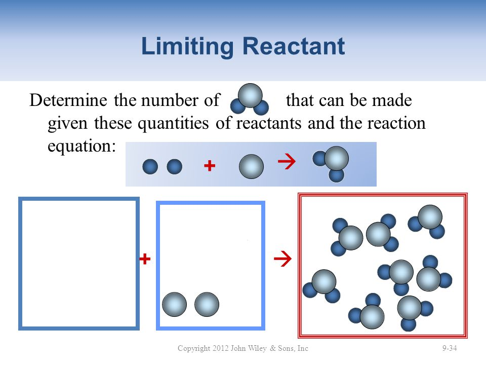 Determine the number of that can be made given these quantities of reactants and the reaction equation: Limiting Reactant Copyright 2012 John Wiley & Sons, Inc9-34 +  + 