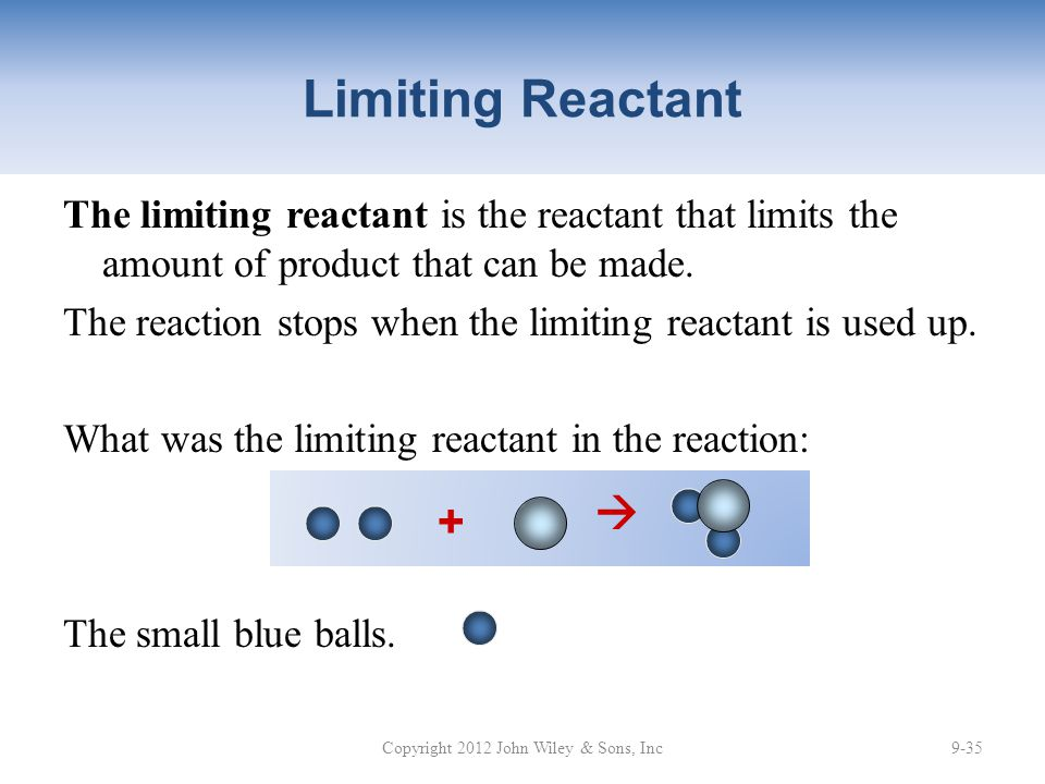 Limiting Reactant The limiting reactant is the reactant that limits the amount of product that can be made.