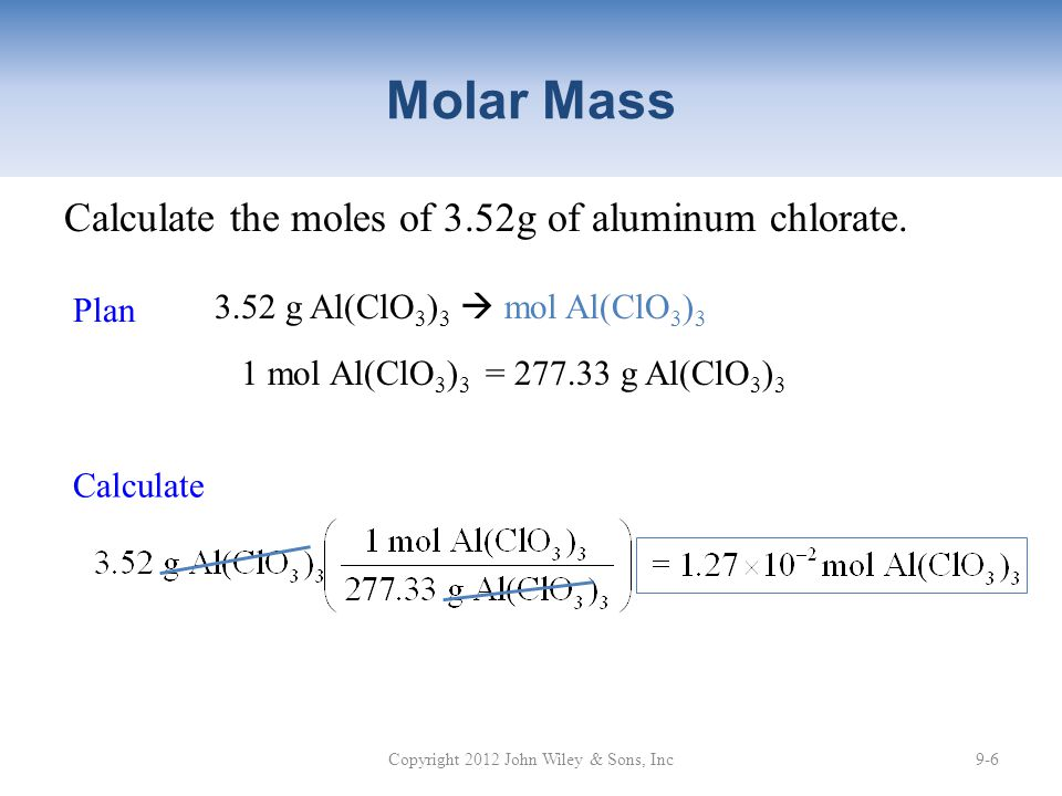 Calculate the moles of 3.52g of aluminum chlorate.