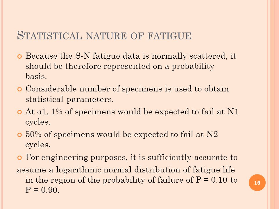 S TATISTICAL NATURE OF FATIGUE Because the S-N fatigue data is normally scattered, it should be therefore represented on a probability basis. Consider