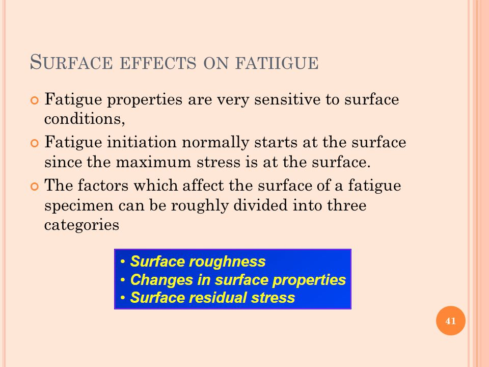 S URFACE EFFECTS ON FATIIGUE Fatigue properties are very sensitive to surface conditions, Fatigue initiation normally starts at the surface since the