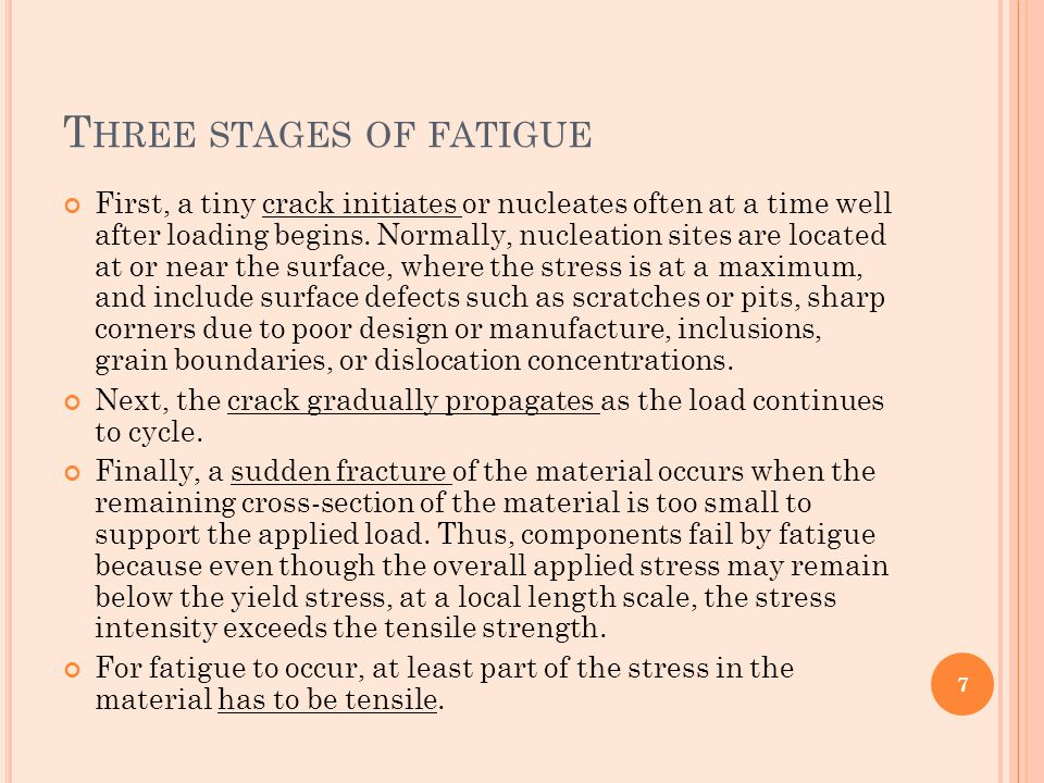 T HREE STAGES OF FATIGUE First, a tiny crack initiates or nucleates often at a time well after loading begins. Normally, nucleation sites are located