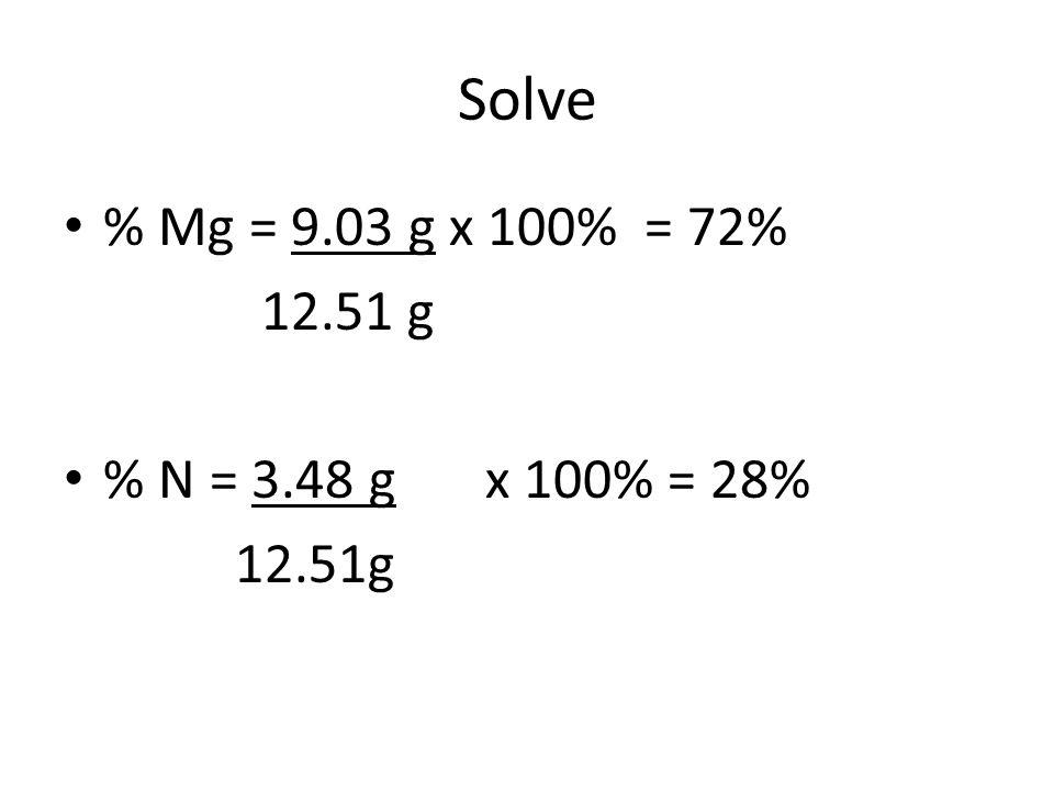 Solve % Mg = 9.03 g x 100% = 72% 12.51 g % N = 3.48 gx 100% = 28% 12.51g