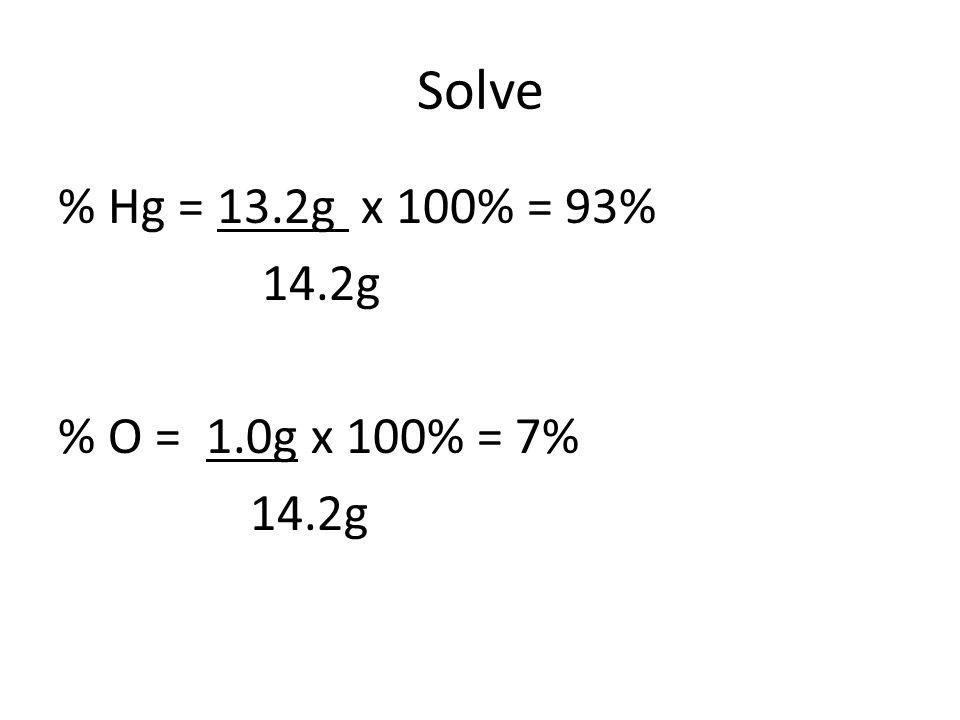 Solve % Hg = 13.2g x 100% = 93% 14.2g % O = 1.0g x 100% = 7% 14.2g