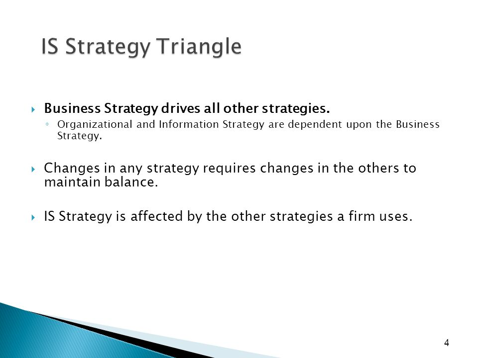 4 IS Strategy Triangle  Business Strategy drives all other strategies. ◦ Organizational and Information Strategy are dependent upon the Business Stra