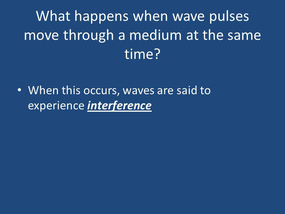 When this occurs, waves are said to experience interference