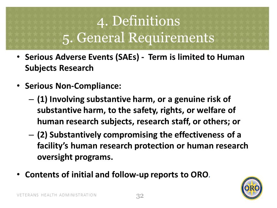 VETERANS HEALTH ADMINISTRATION 4. Definitions 5.