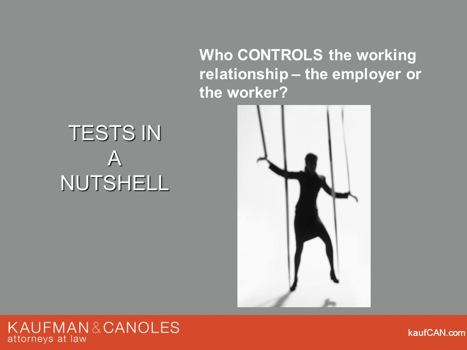 kaufCAN.com Who CONTROLS the working relationship – the employer or the worker? TESTS IN A NUTSHELL