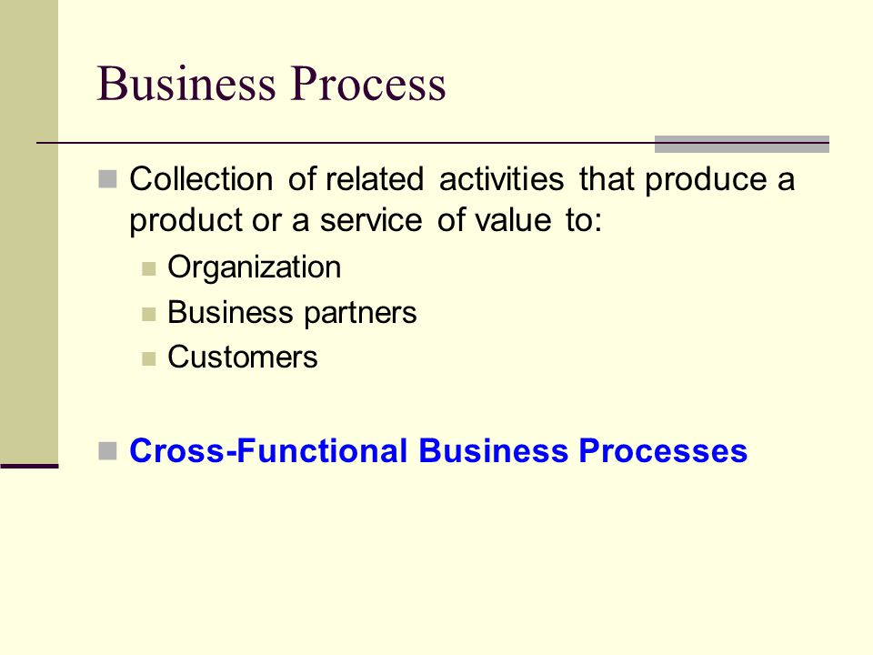 Business Process Collection of related activities that produce a product or a service of value to: Organization Business partners Customers Cross-Functional Business Processes