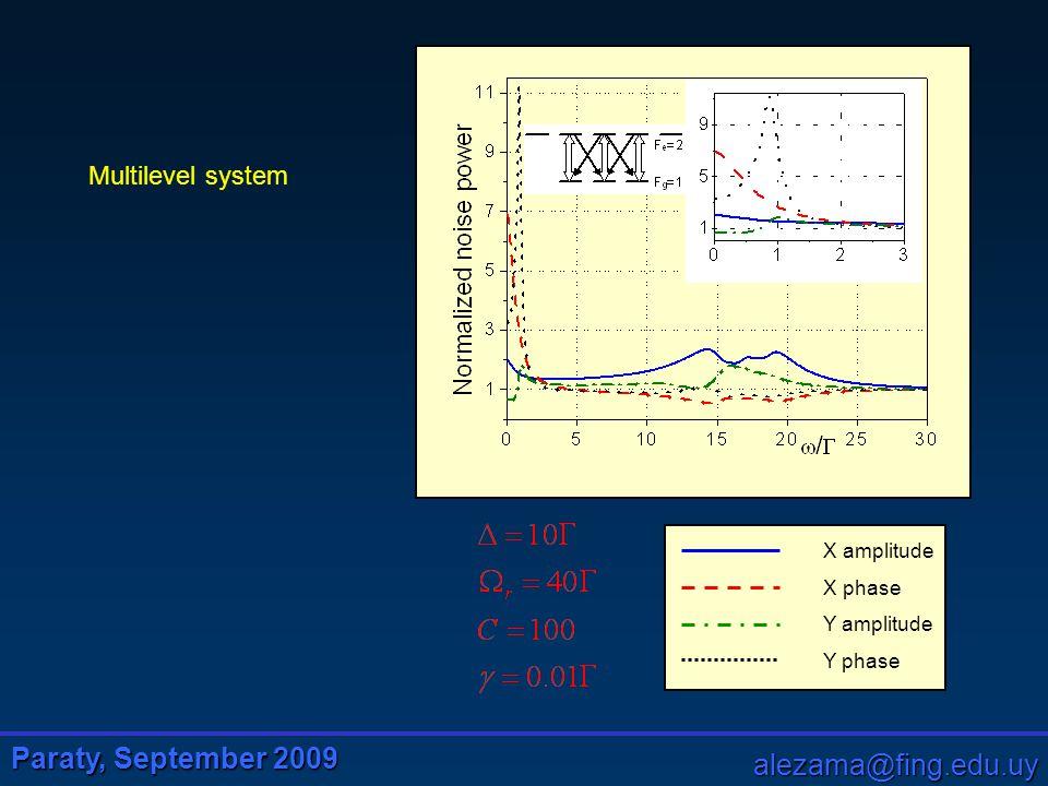 Paraty, September 2009 alezama@fing.edu.uy X amplitude X phase Y amplitude Y phase Multilevel system