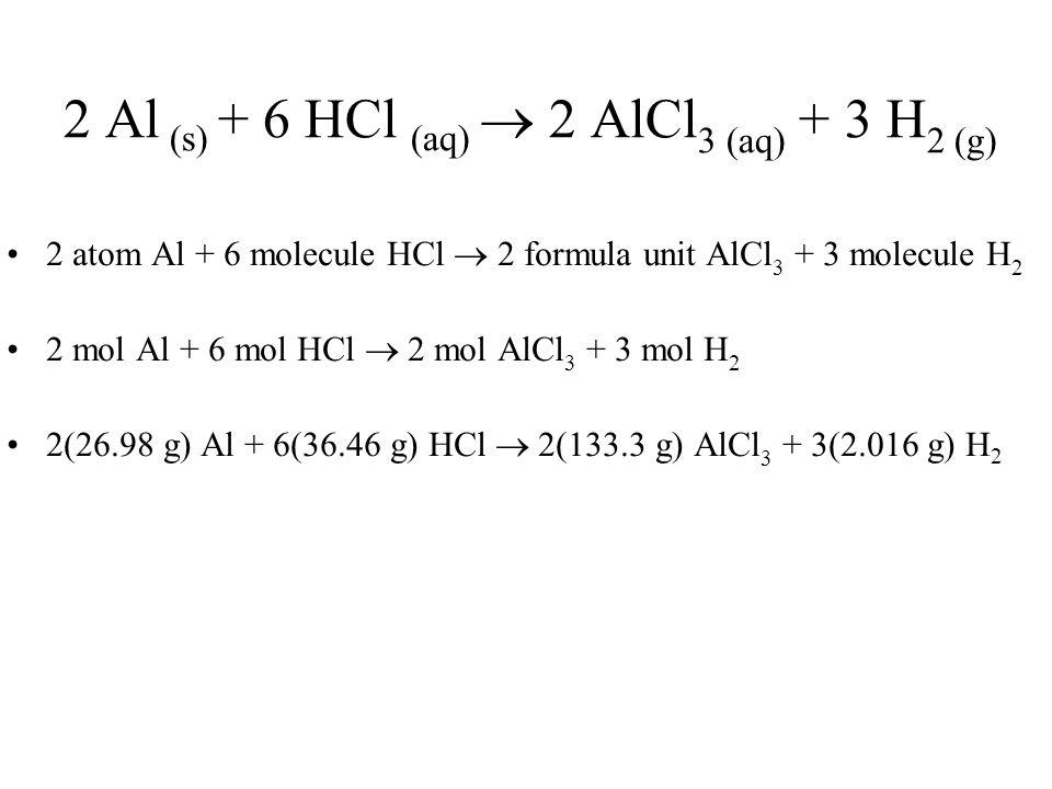 2 Al (s) + 6 HCl (aq)  2 AlCl 3 (aq) + 3 H 2 (g) 2 atom Al + 6 molecule HCl  2 formula unit AlCl 3 + 3 molecule H 2 2 mol Al + 6 mol HCl  2 mol AlCl 3 + 3 mol H 2 2(26.98 g) Al + 6(36.46 g) HCl  2(133.3 g) AlCl 3 + 3(2.016 g) H 2