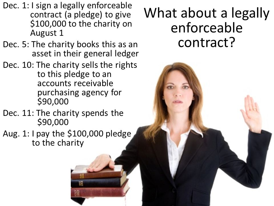 What about a legally enforceable contract? Dec. 1: I sign a legally enforceable contract (a pledge) to give $100,000 to the charity on August 1 Dec. 5