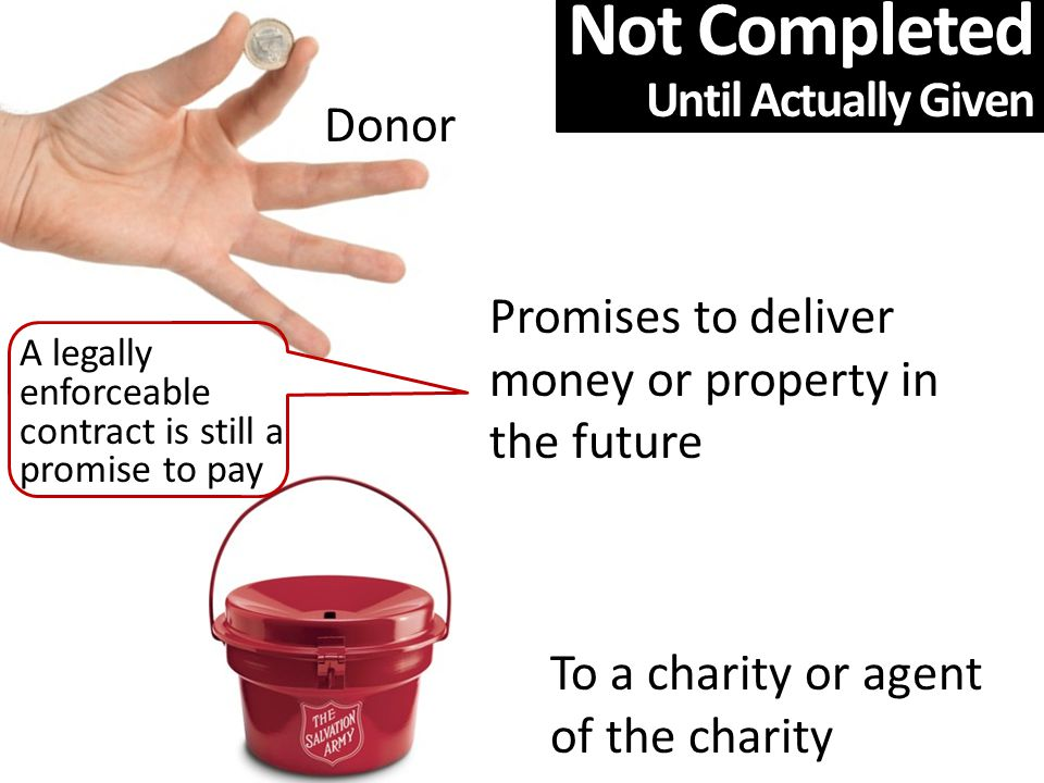 Donor Promises to deliver money or property in the future To a charity or agent of the charity A legally enforceable contract is still a promise to pay Not Completed Until Actually Given