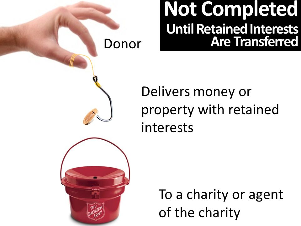 To a charity or agent of the charity Donor Delivers money or property with retained interests Not Completed Until Retained Interests Are Transferred