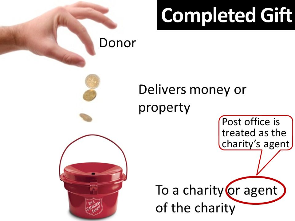 Completed Gift Delivers money or property To a charity or agent of the charity Post office is treated as the charity's agent Donor Completed Gift