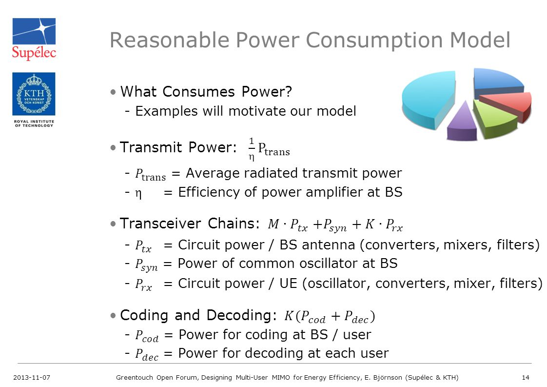 Reasonable Power Consumption Model 2013-11-07Greentouch Open Forum, Designing Multi-User MIMO for Energy Efficiency, E. Björnson (Supélec & KTH)14
