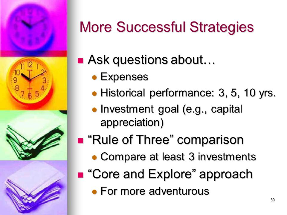 More Successful Strategies Ask questions about… Ask questions about… Expenses Expenses Historical performance: 3, 5, 10 yrs. Historical performance: 3