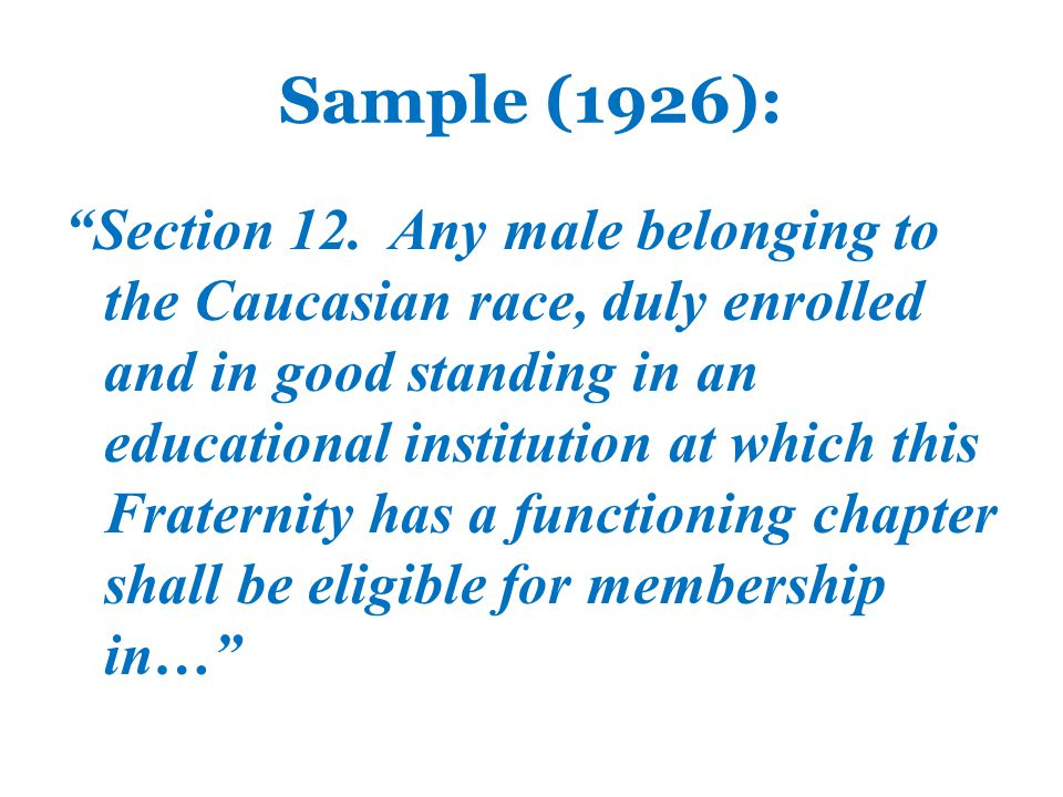 1954 According to Alfred McClung Lee, Sigma Chi and author of Fraternities Without Brotherhood , by 1954 only one NPC group had a restriction and that was religious, as in, You must be of this faith