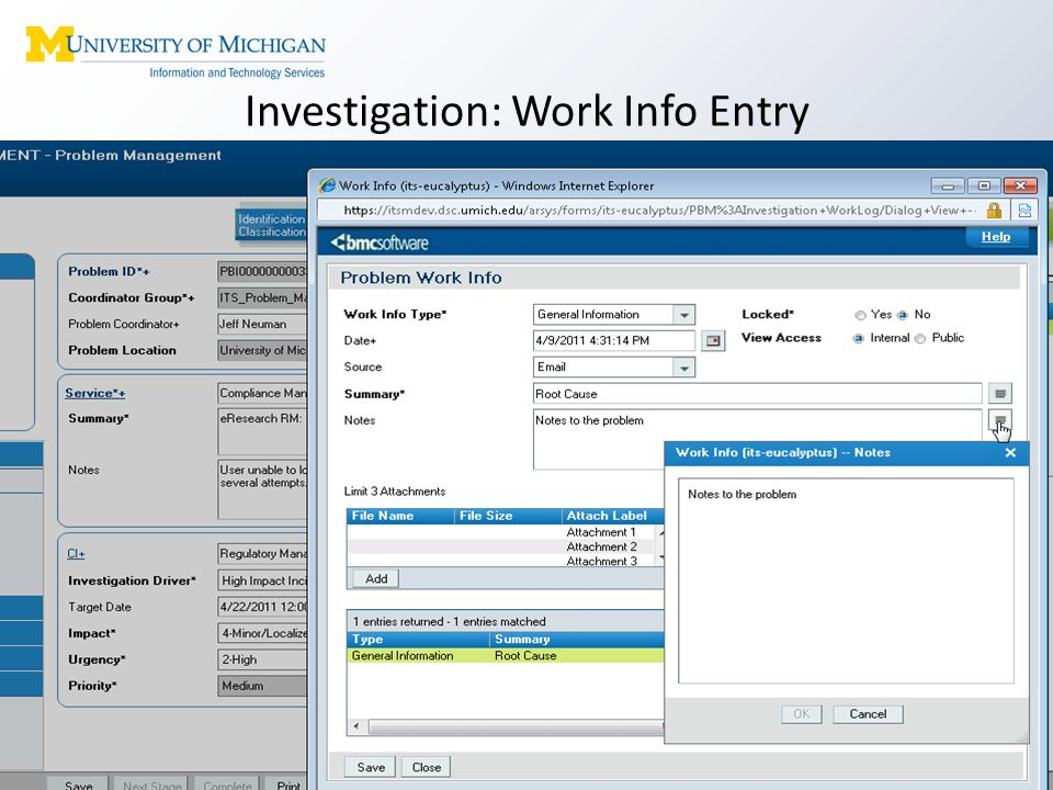 Investigation: Work Info Entry