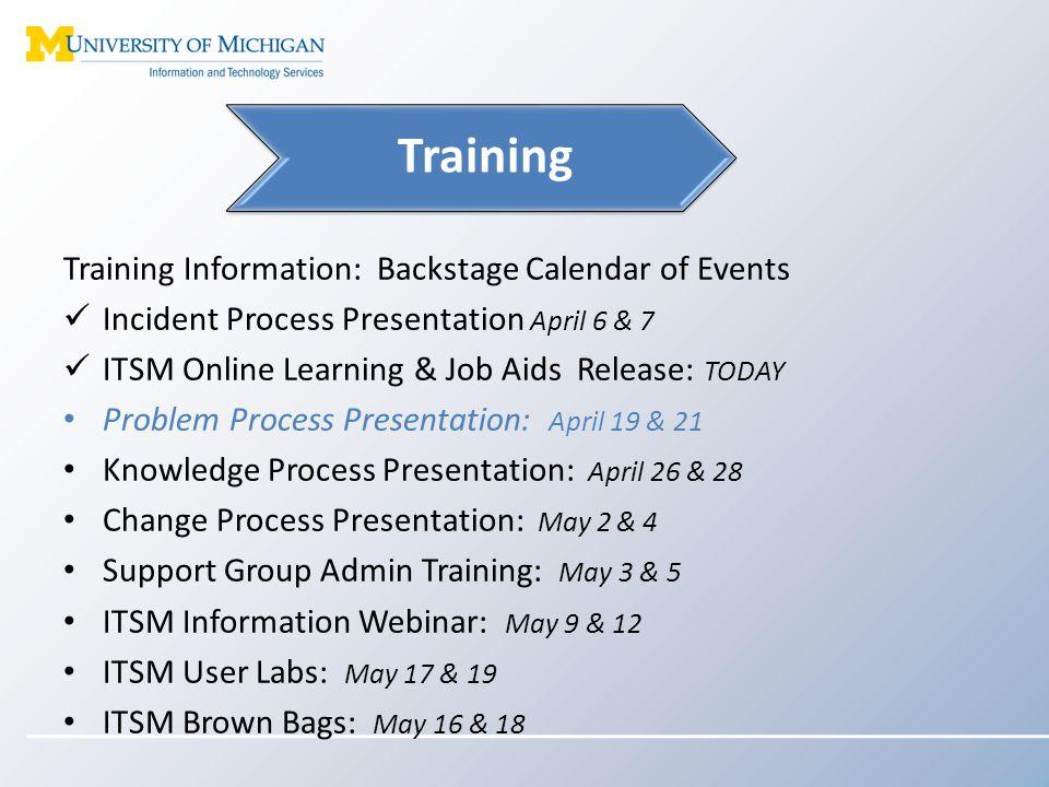 Training Information: Backstage Calendar of Events Incident Process Presentation April 6 & 7 ITSM Online Learning & Job Aids Release: TODAY Problem Pr