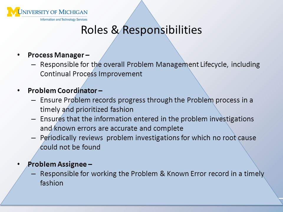 Roles & Responsibilities Process Manager – – Responsible for the overall Problem Management Lifecycle, including Continual Process Improvement Problem Coordinator – – Ensure Problem records progress through the Problem process in a timely and prioritized fashion – Ensures that the information entered in the problem investigations and known errors are accurate and complete – Periodically reviews problem investigations for which no root cause could not be found Problem Assignee – – Responsible for working the Problem & Known Error record in a timely fashion