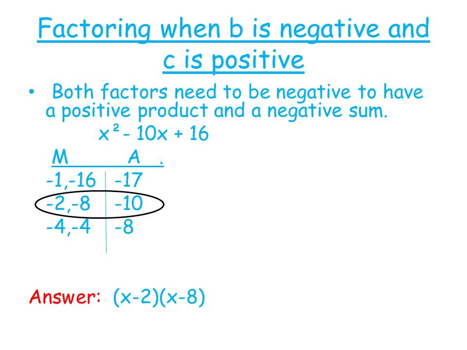 Factoring when b is negative and c is positive Both factors need to be negative to have a positive product and a negative sum. x²- 10x + 16 M A. -1,-1